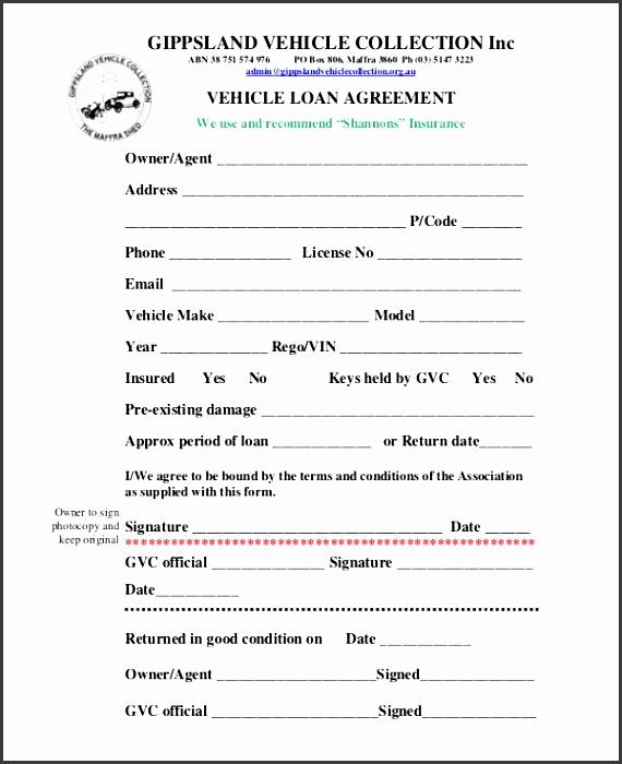 9 Car Loan Agreement Template Sampletemplatess Sampletemplatess