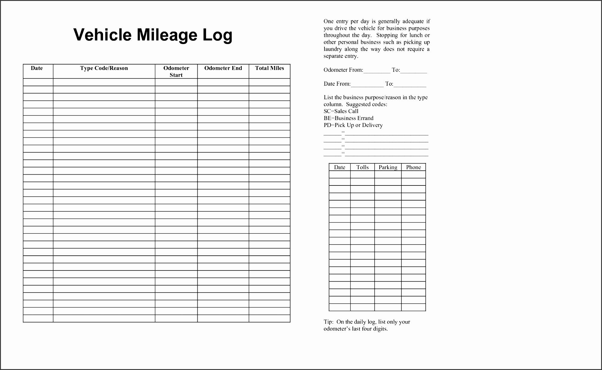 10 car mileage log template