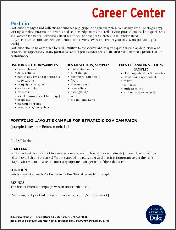portfolio checklist career center duke career center studentaffairs duke career 919