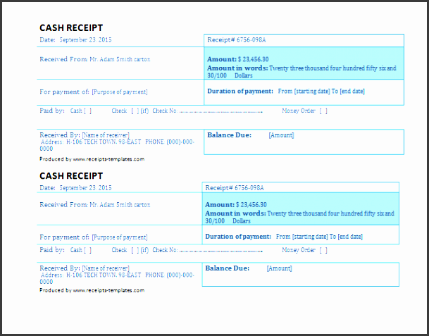 business cash receipt template