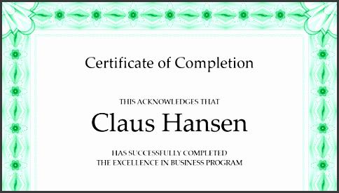 certificate of pletion green