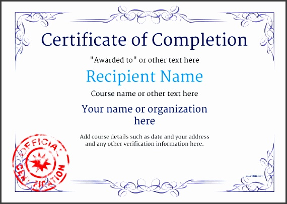 free certificate of pletion