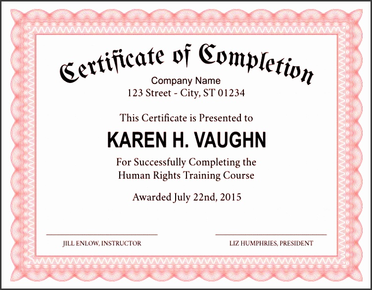 11 certificate of completion template printable