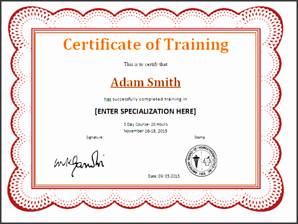 preview and details of template training pletion award certificate