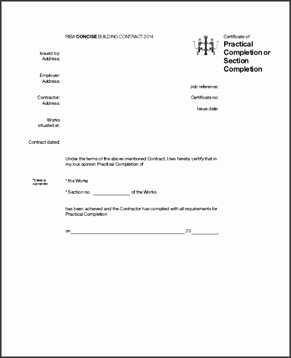 8 certificate of job completion template