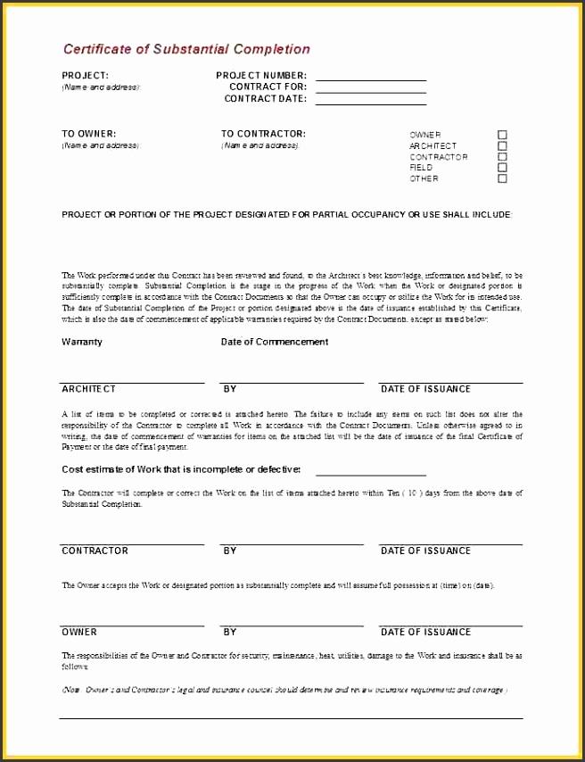 certificate of job pletion templatesa g704 certificate of substantial pletion