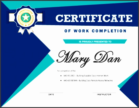 work pletion certificate template