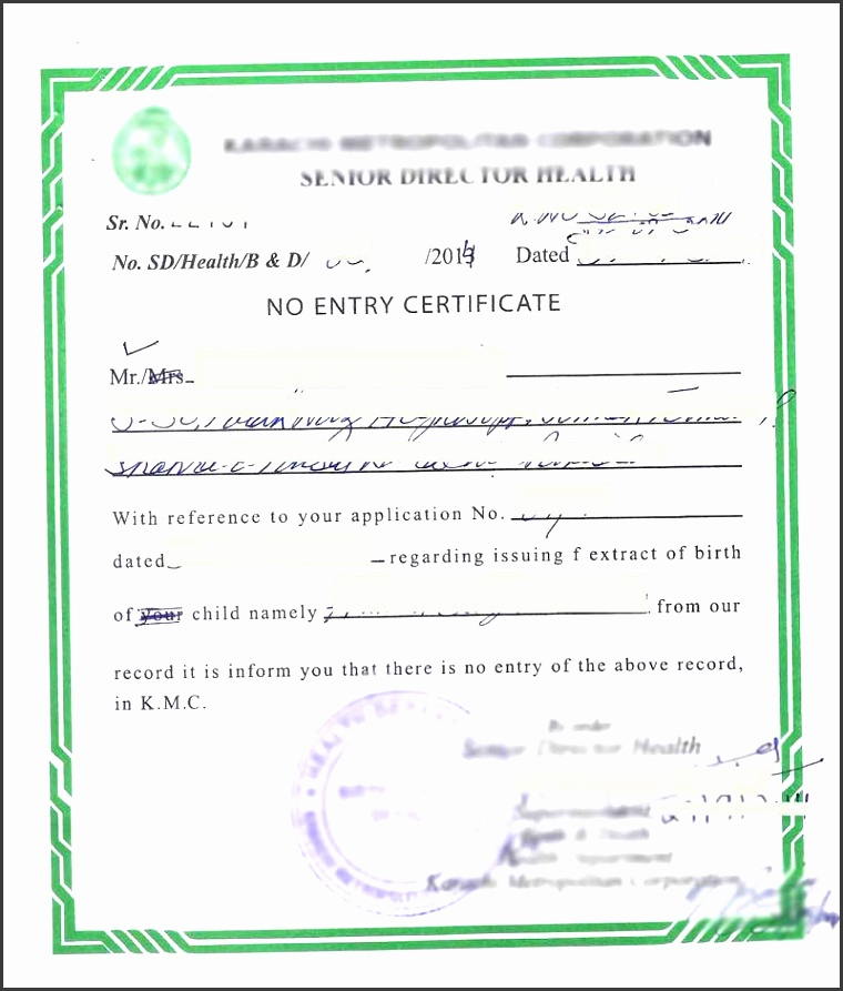 sample no entry birth certificate pakistan d5a7b9