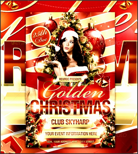 golden christmas club flyer template