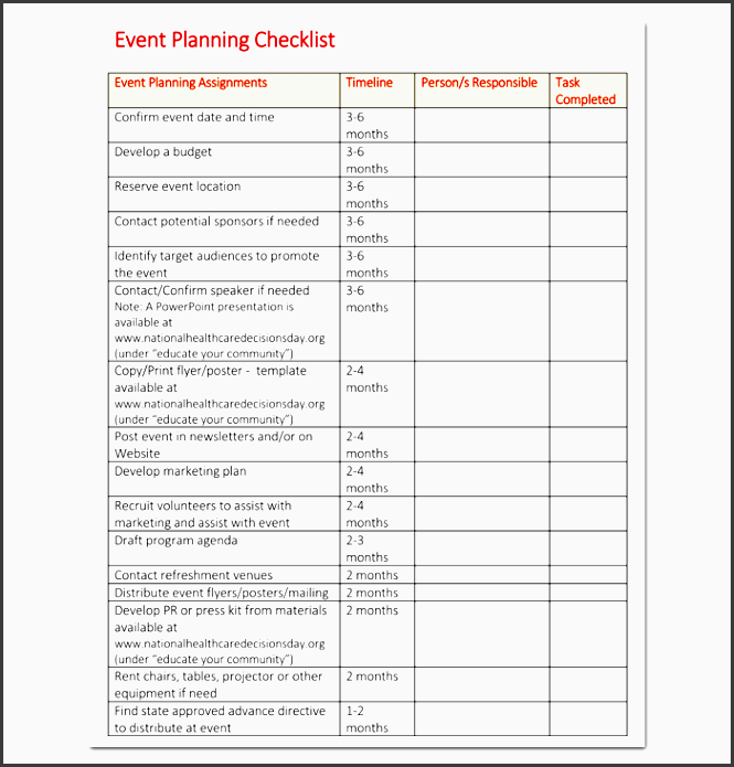 10 church event planning checklist example for Event planning to do list template