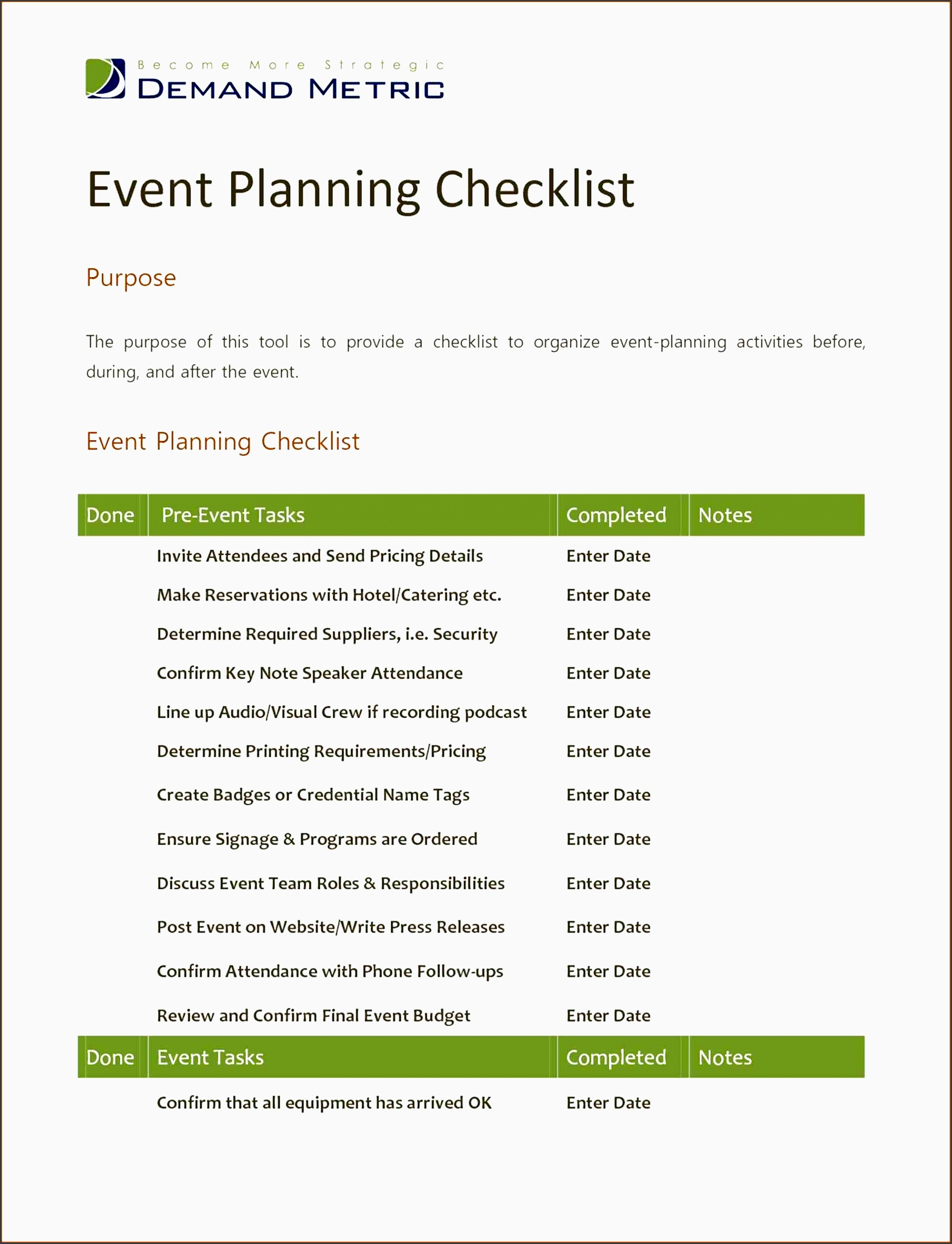 7 church event planning checklist template for Event management agreement template