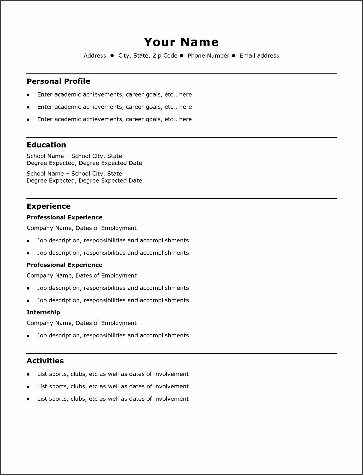 79 wonderful free blank resume templates for microsoft word template