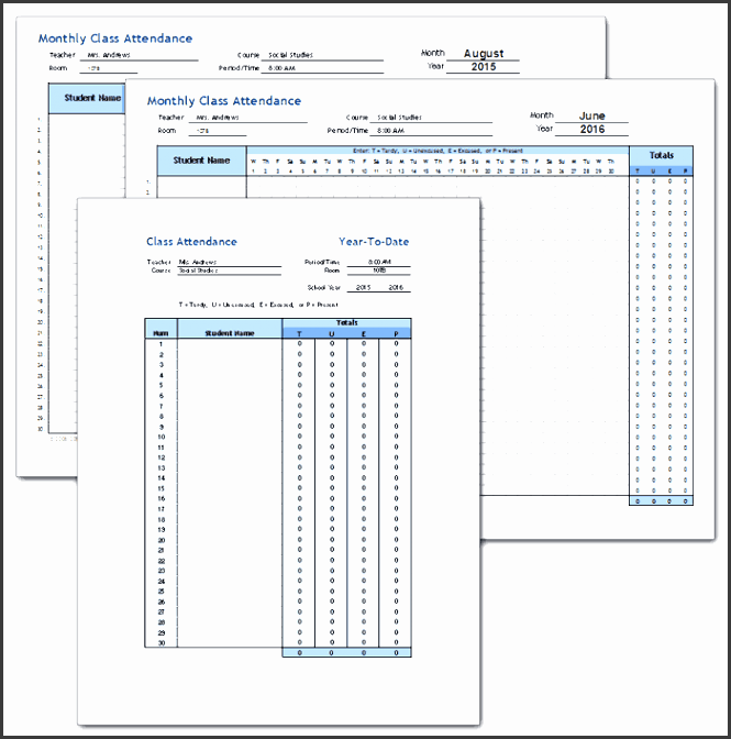 track classroom attendance over a full school year using this student classroom attendance template for excel