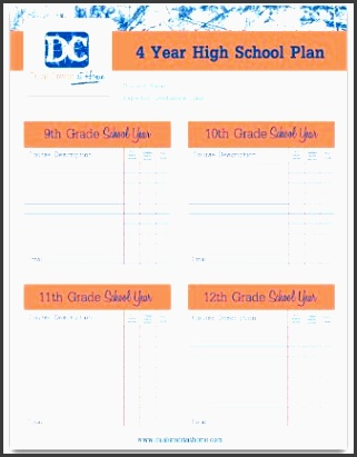 four year high school plan template