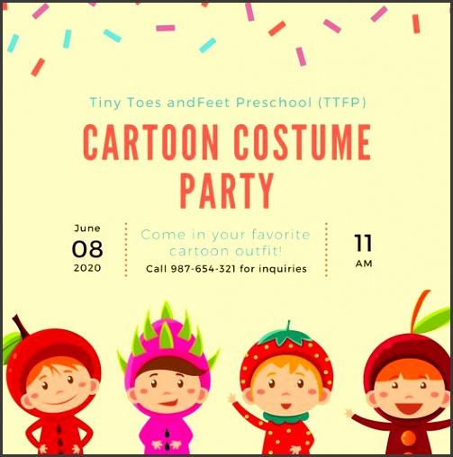 cream confetti children s costume party invitation