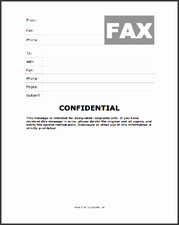confidential fax template