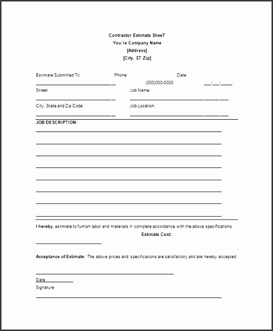 contractor blank estimate sheet template free