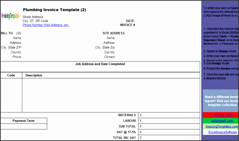 plumbing contractor invoice template landscape freeware edition