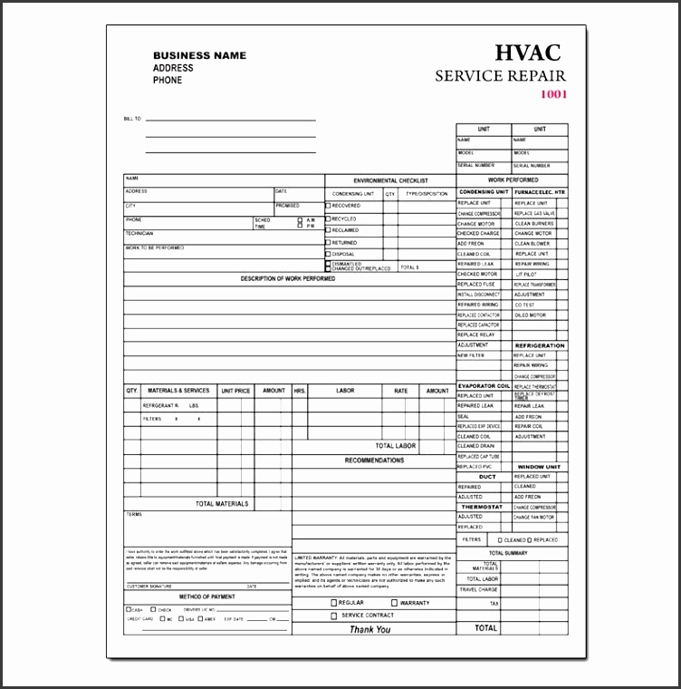 Contractor Invoice Template In Editable Form SampleTemplatess - Hvac service order invoice template