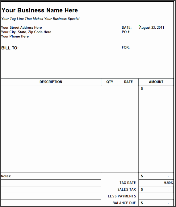 online invoices template free