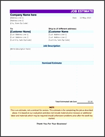 Lovely Job Estimate Template Excel Gallery  Example Resume Ideas