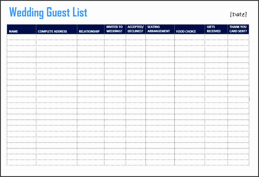 Guest List Format  Party Guest List