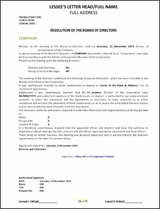 letterhead template board of directors