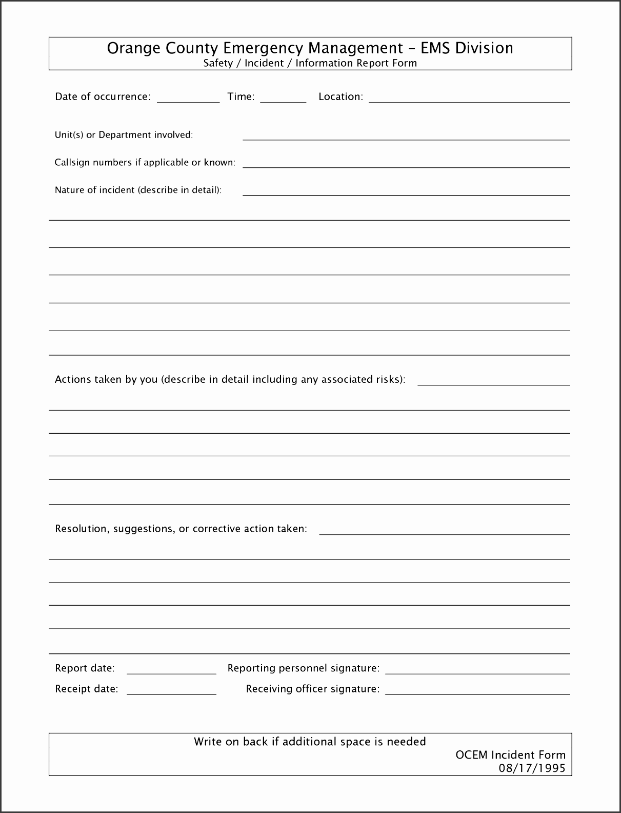 Free Incident Report Form Template Word Writer Producer Sample Resume Crime Incident  Report Template Wkeln Inspirational Free Incident Report Form Template ...  Free Printable Incident Reports