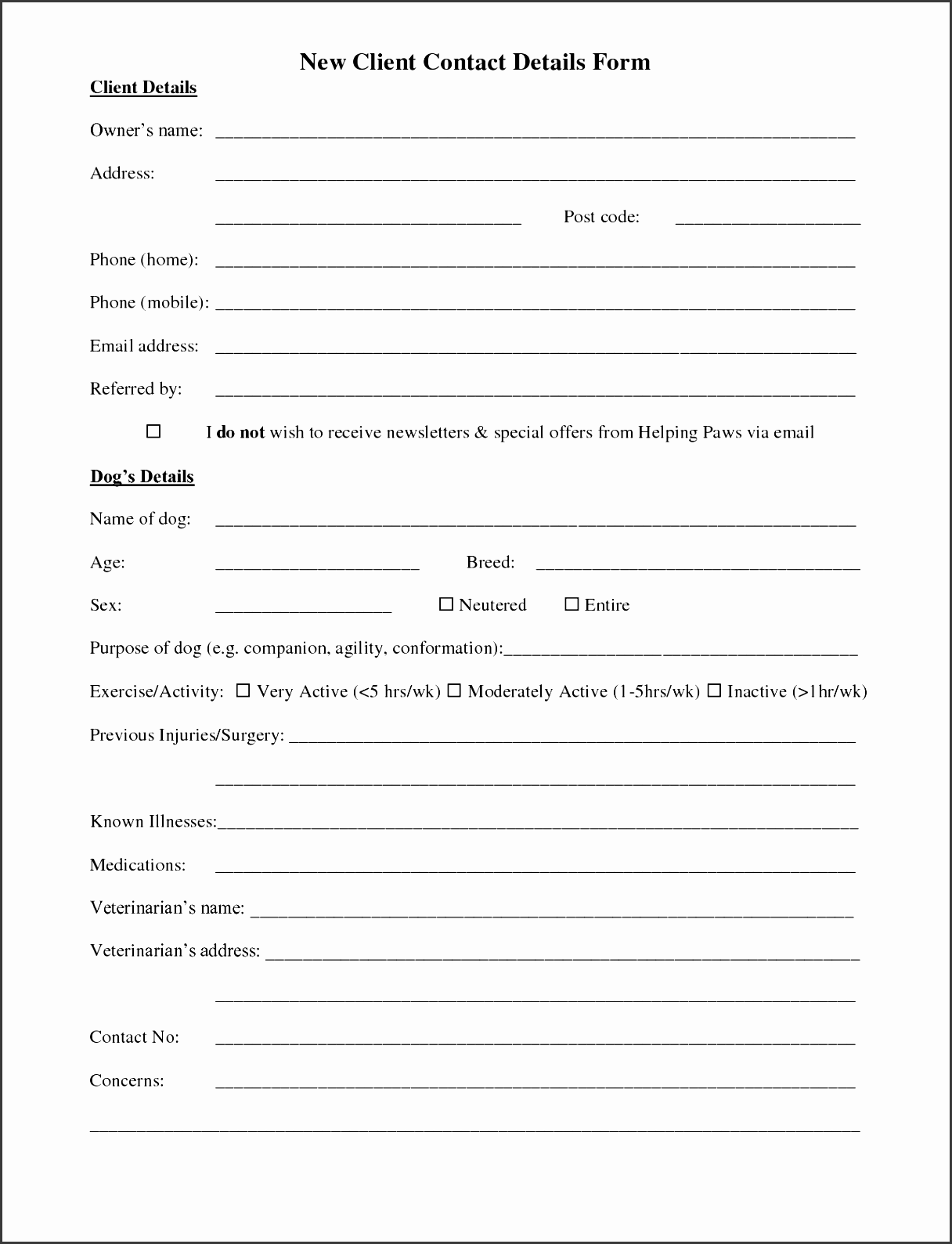 Exceptional Client Information Form Sample