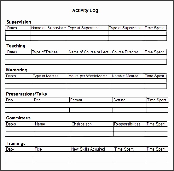 6 daily activity log templates