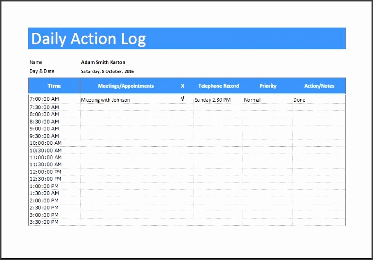 daily action or activity log templates
