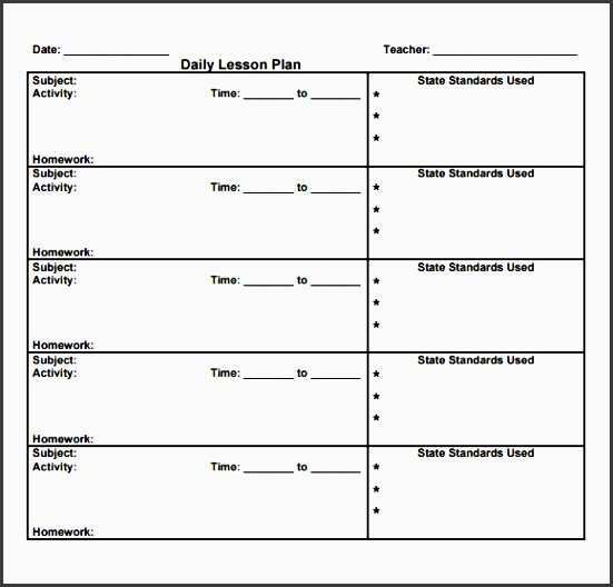 Daily Lesson Planner Example  Sampletemplatess  Sampletemplatess