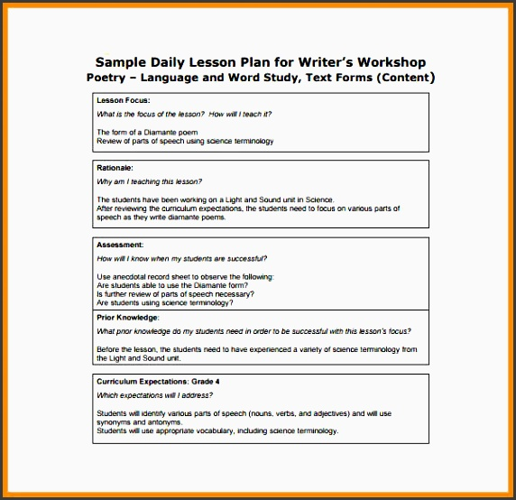 writers workshop lesson plan template - 5 daily lesson planner for free sampletemplatess