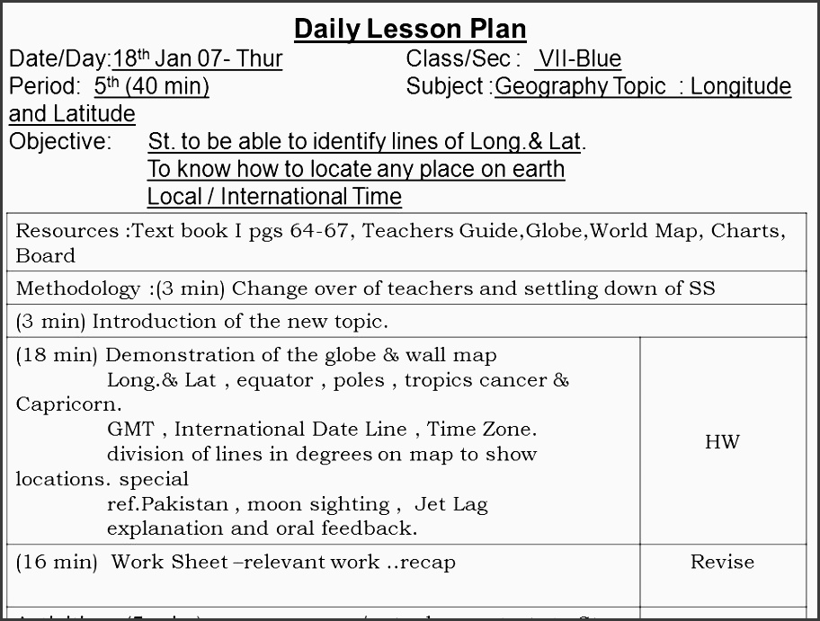 62 daily lesson plan