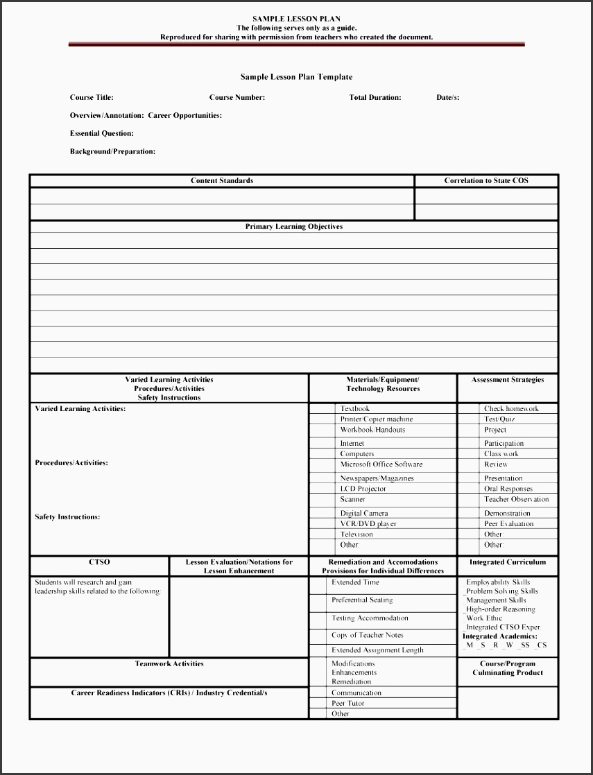 4 daily lesson planner template sampletemplatess for Dok lesson plan template