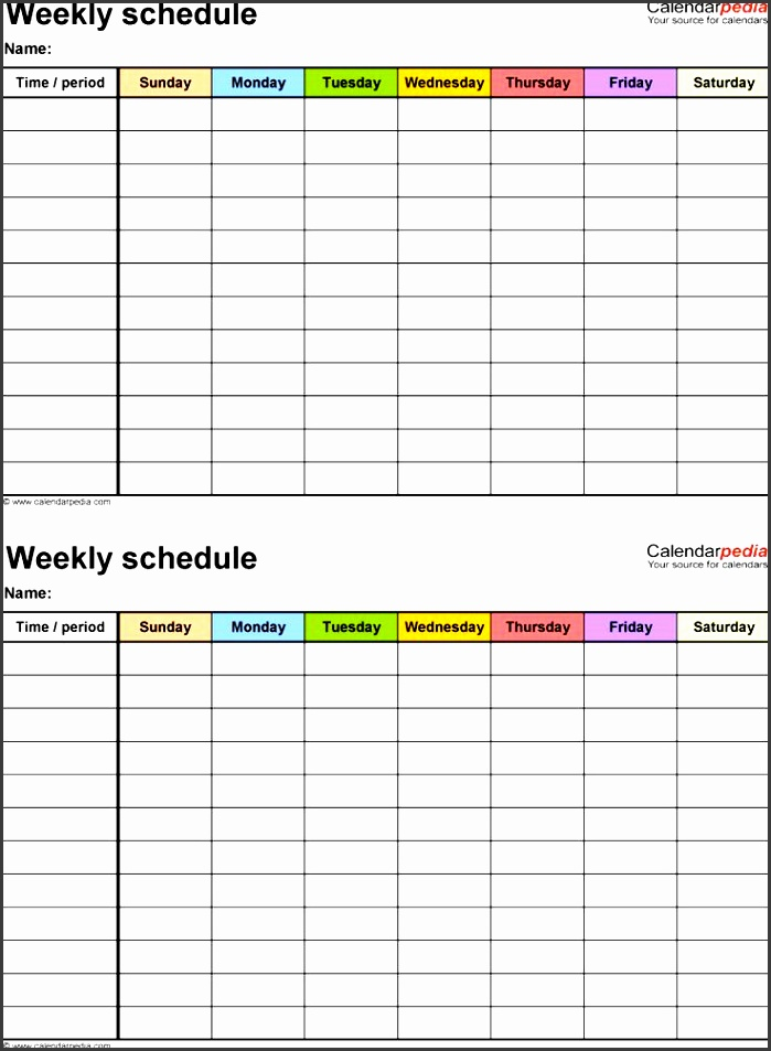 weekly schedule template for word version 15 2 timetables on one page portrait