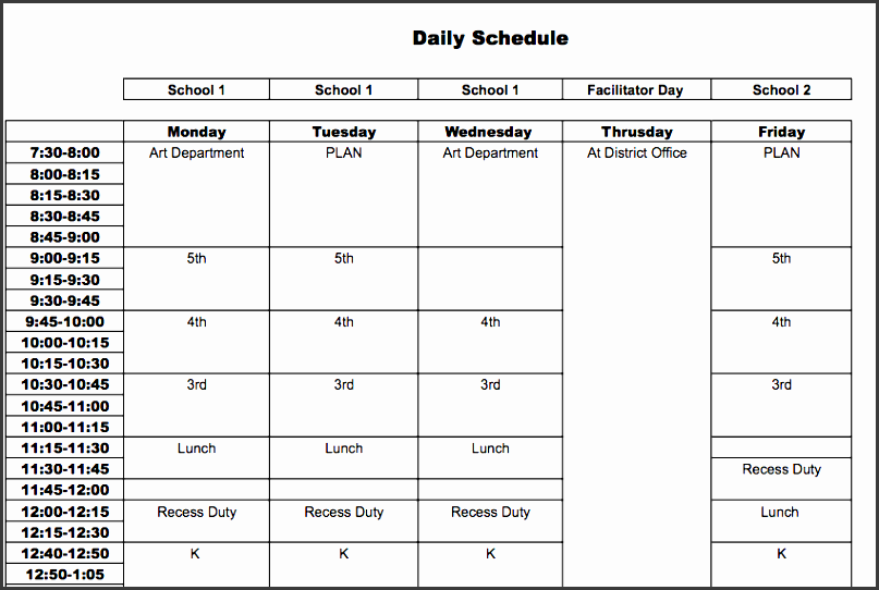 Elementary Classroom Schedule Template ~ Daily schedule template for students sampletemplatess
