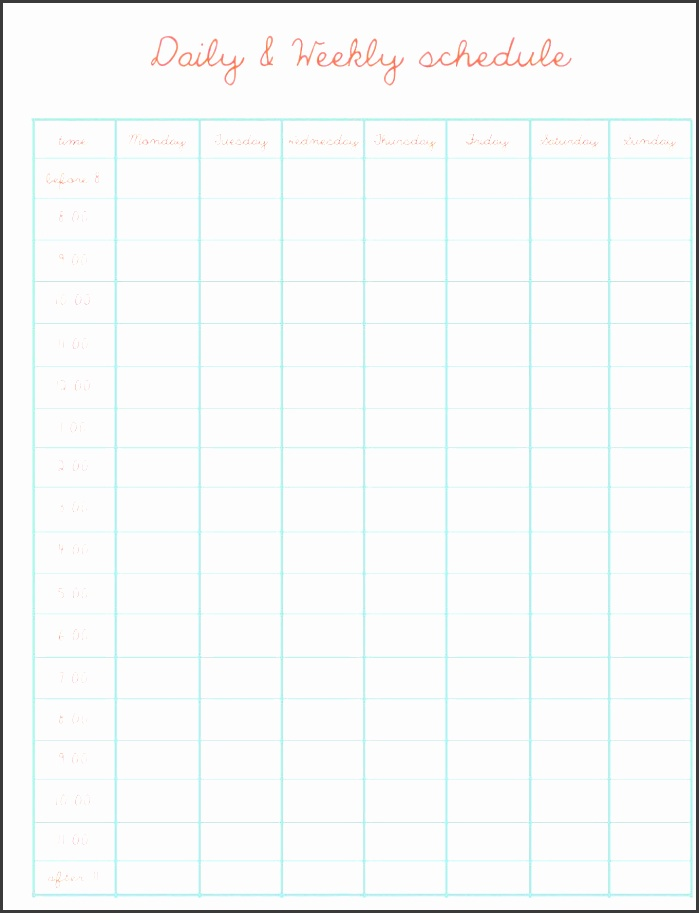 daily weekly schedule template more schedule templates at website mà s
