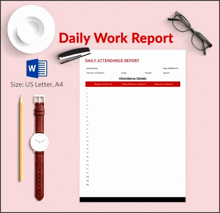 ms word format daily work report template