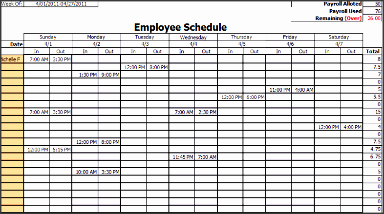 4  daily work schedule template ready to use