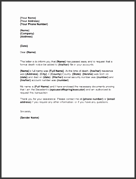 letter to notify creditors of business form template