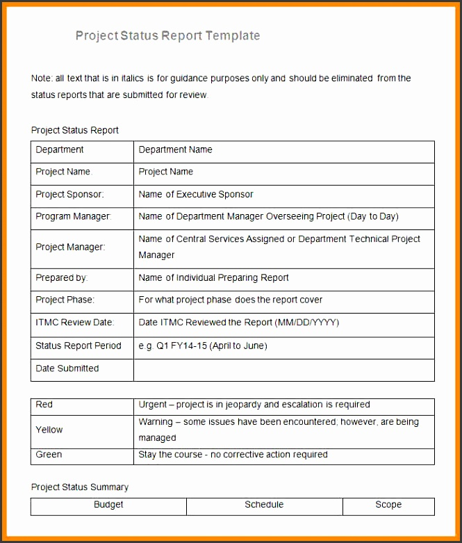 10 project status report template excel emails sample