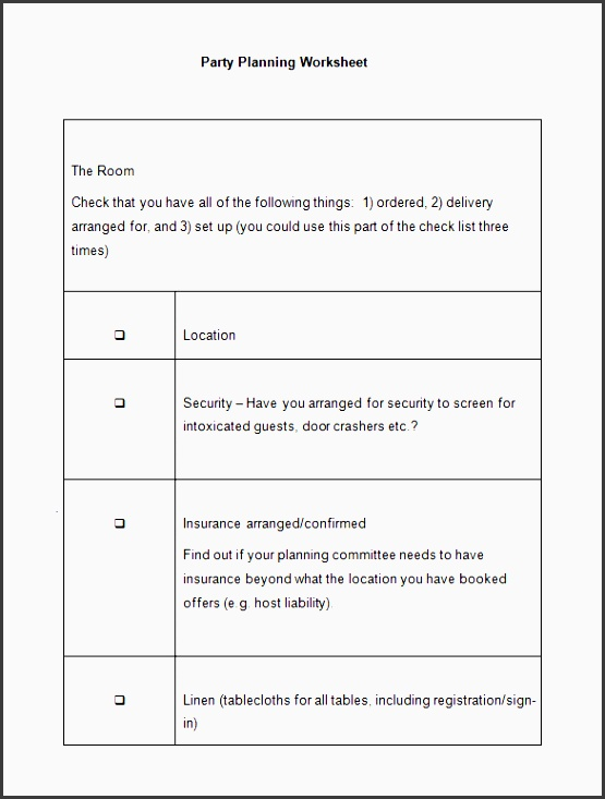 party event planning worksheet template format