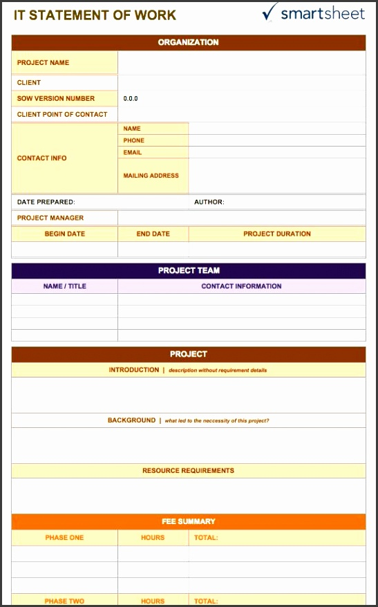 it statement of work template