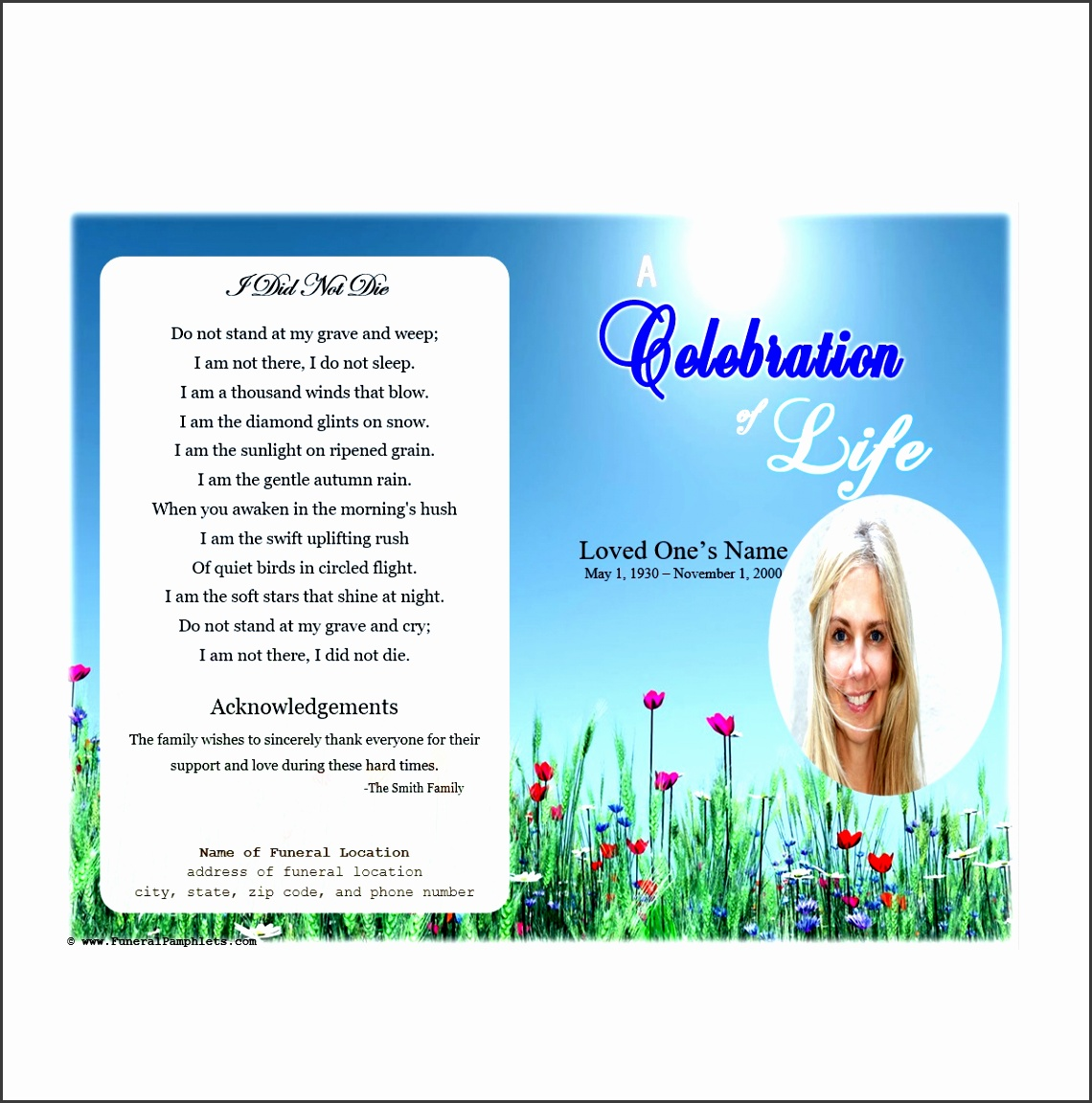 9 download free funeral program template for Memorial pamphlets free templates