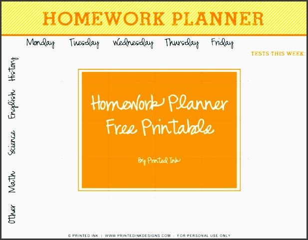 back to school free printable homework planner
