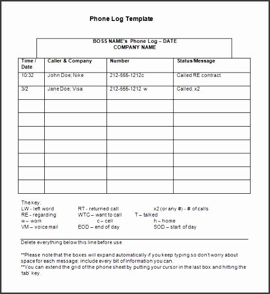 phone message log template