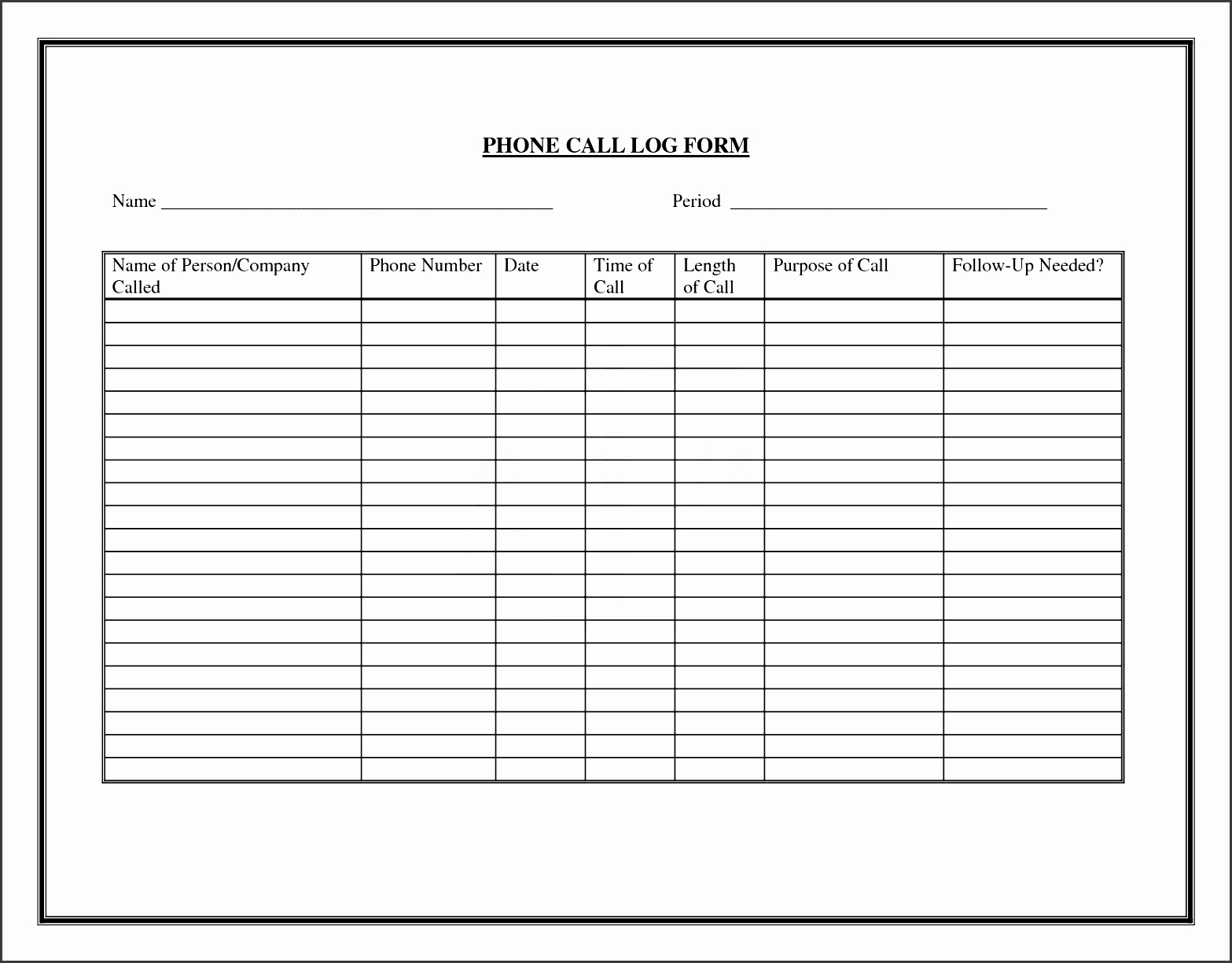 free call log template