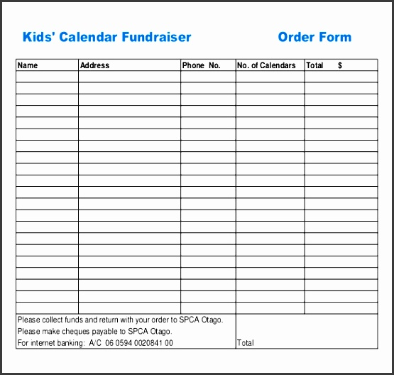 Sample Fundraiser Order Forms   Fieldstation.co  Fundraising Forms Templates Free