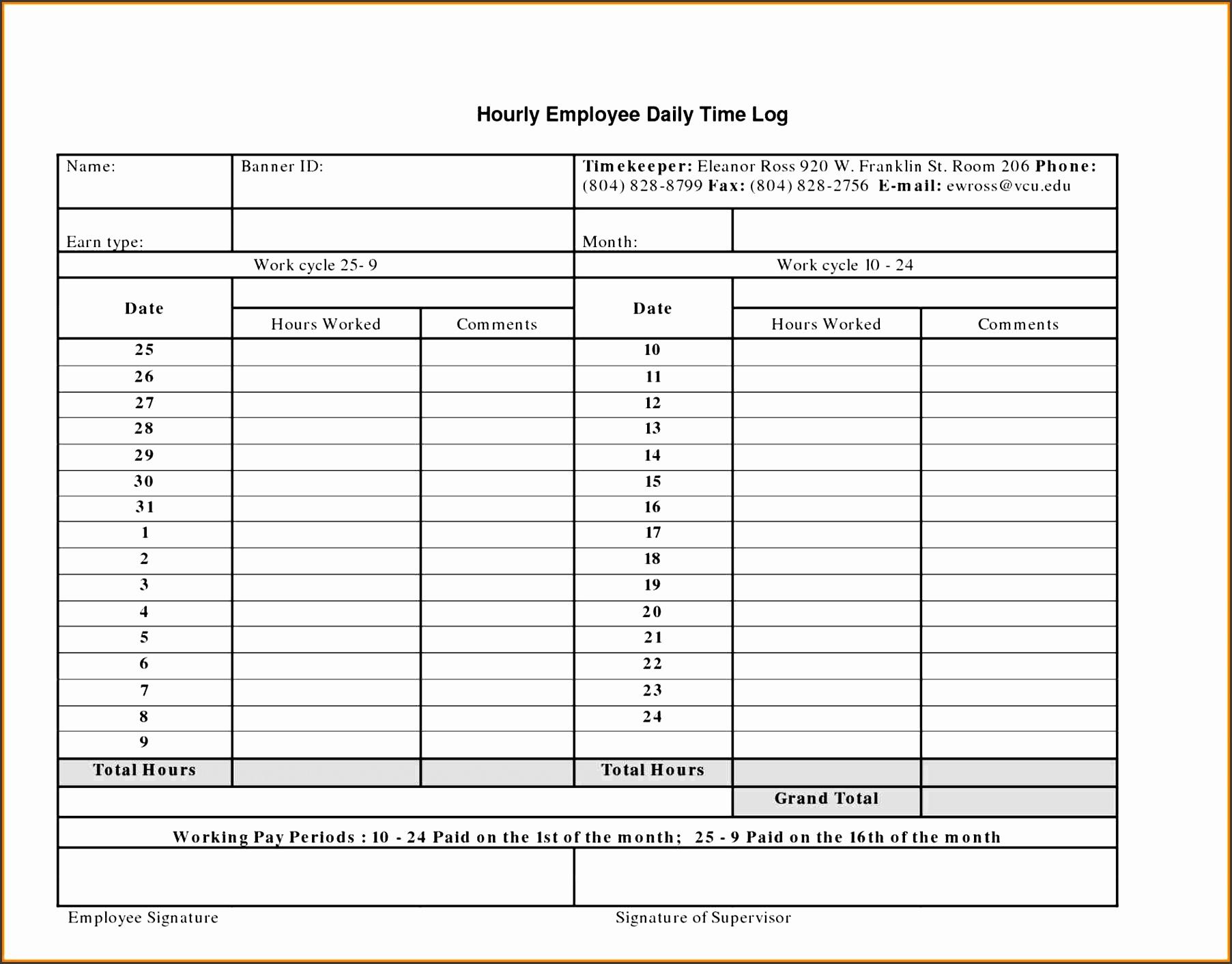 work log templates